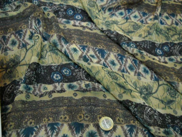 Mousseline motif frises fleuries kaki tilleul bleu 1