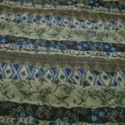 Mousseline motif frises fleuries kaki tilleul bleu 3