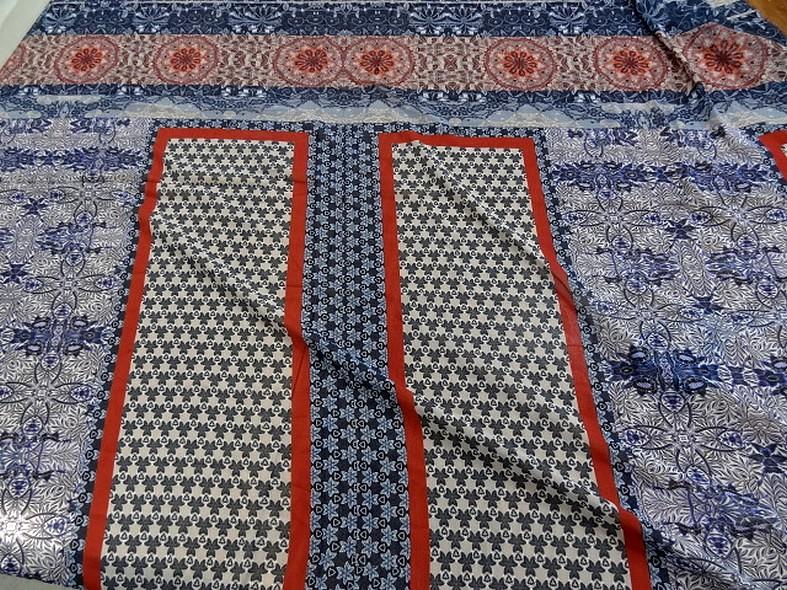 Mousseline patchwork bleu et rouille 1