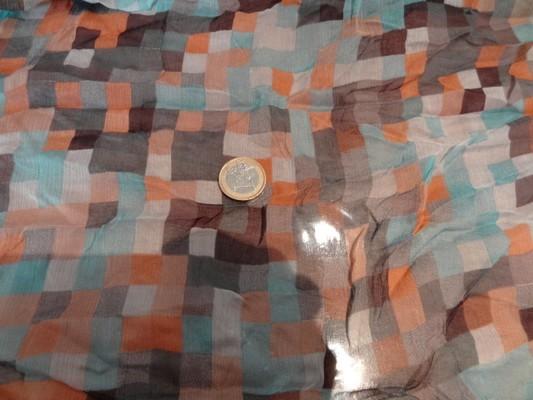 Mousseline de soie pixels bleu orange 01
