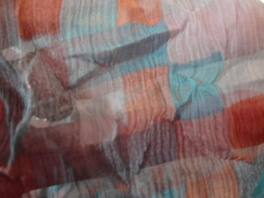Mousseline de soie pixels bleu orange 02
