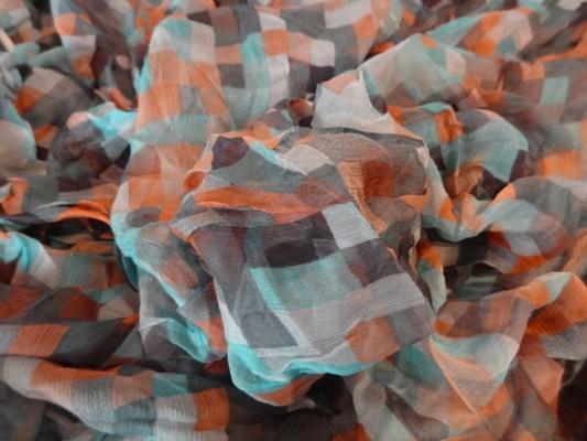 Mousseline de soie pixels bleu orange 03