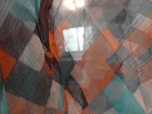 Mousseline de soie pixels bleu orange 04