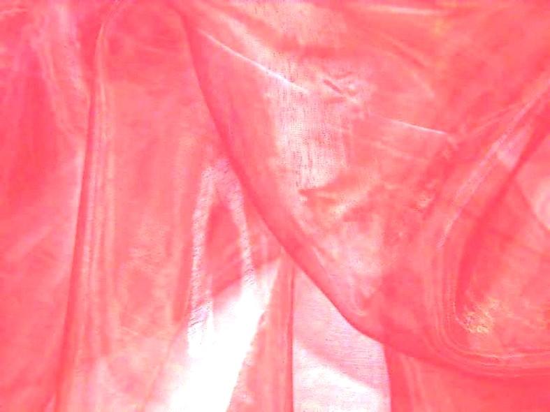 Organza 2 fils rose corail et blanc