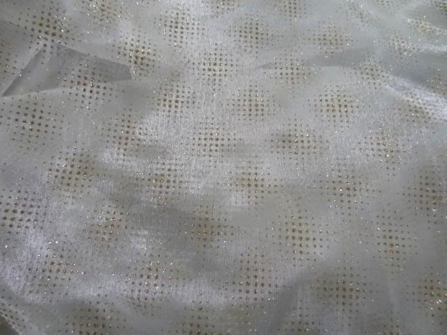 Organza blanc casse carre de paillettes dore 1