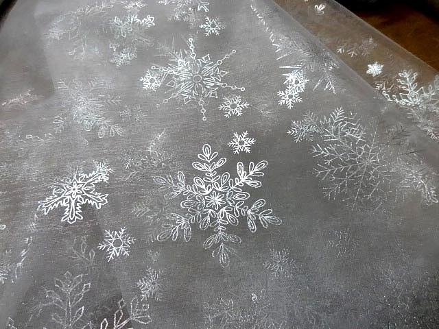 Organza blanc flocons de neige metal