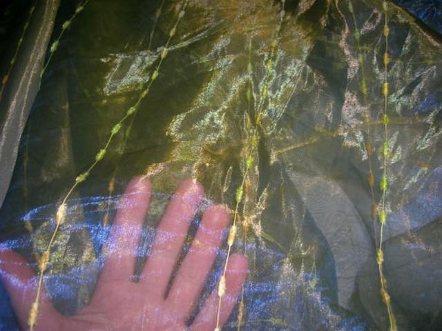 Organza jaune bleu saphir raye chenille 3
