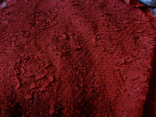 Organza plisse forme roses rouge bordeaux 02