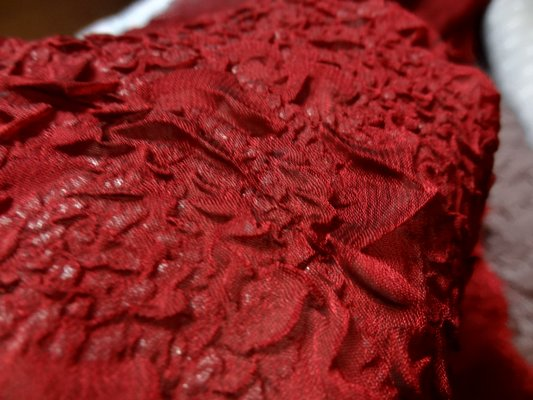 Organza plisse forme roses rouge bordeaux 05