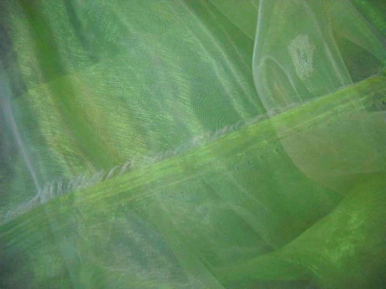 Organza vert pomme reflet blanc 1