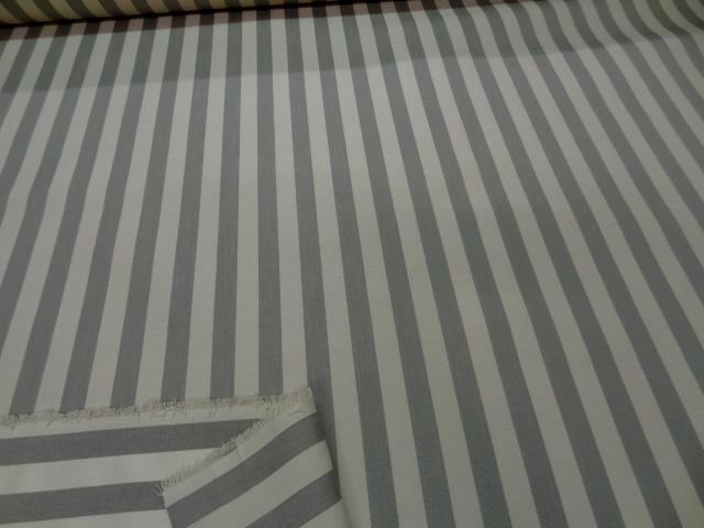 Ottoman en coton beige raye gris