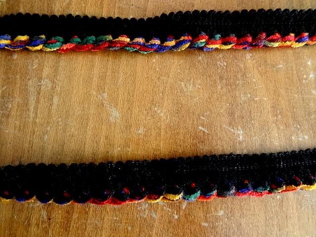 Passepoil velours chenille noir multicolore