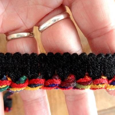 Passepoil velours chenille noir multicolore 2