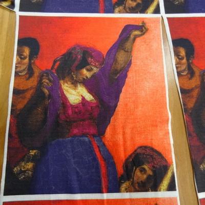 Piece a coudre jersey coton imprime tableau bohemienne 1