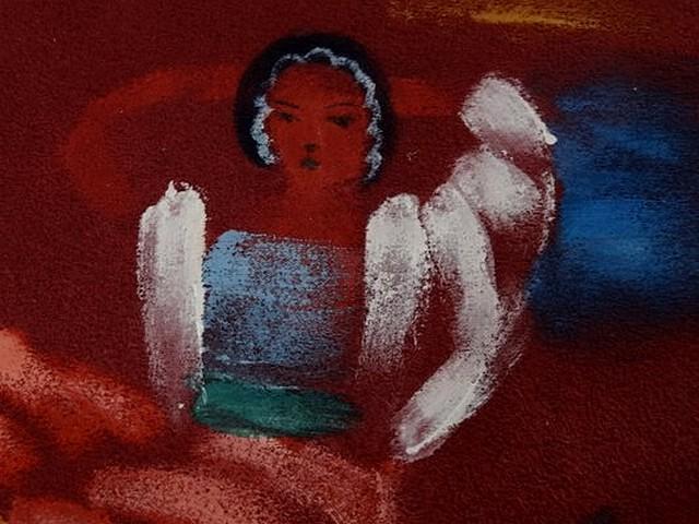 Piece patchwork en suedine bordeaux peint a la main 2