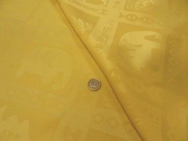 Pique de coton jaune paille patchwork animaux sauvages 1