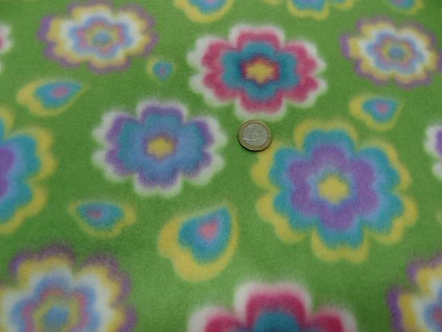 Polaire doudou vert prairie enfant motif fleurs 0 2