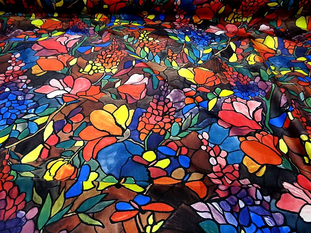 Polyamide coton imprime fleurs