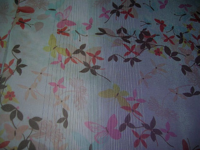 Polyamide coton rose clair fondu lilas motifs papillons 2