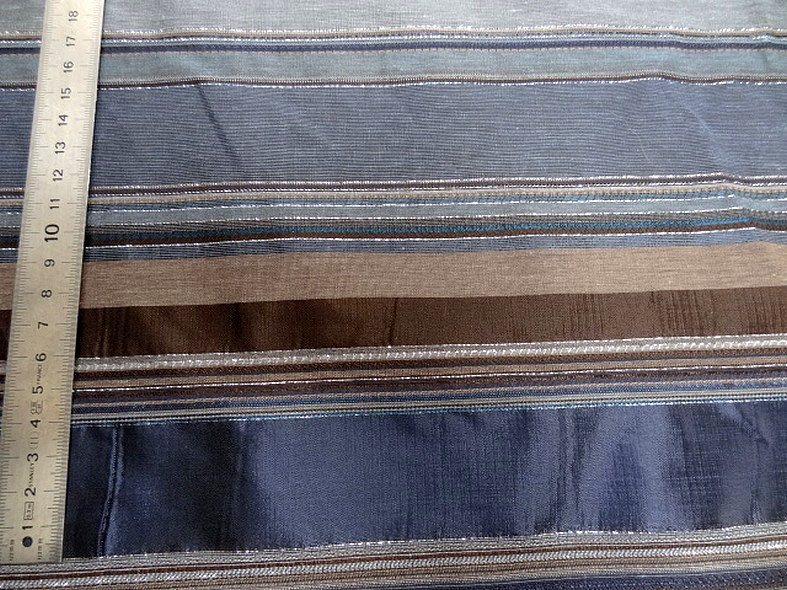 Polyamide lurex rayures opaques et transparentes bleuet et toffee 3