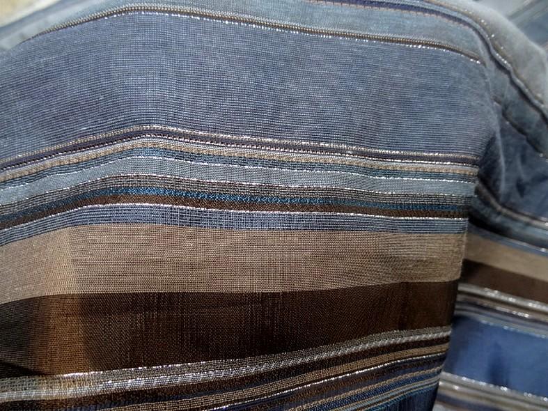 Polyamide lurex rayures opaques et transparentes bleuet et toffee 4