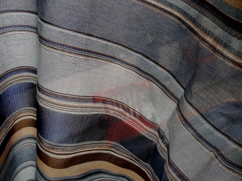 Polyamide lurex rayures opaques et transparentes bleuet et toffee 6