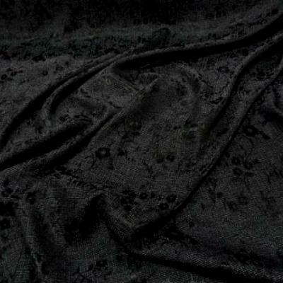 Polyester coton noir chambray fleurs satinees 1