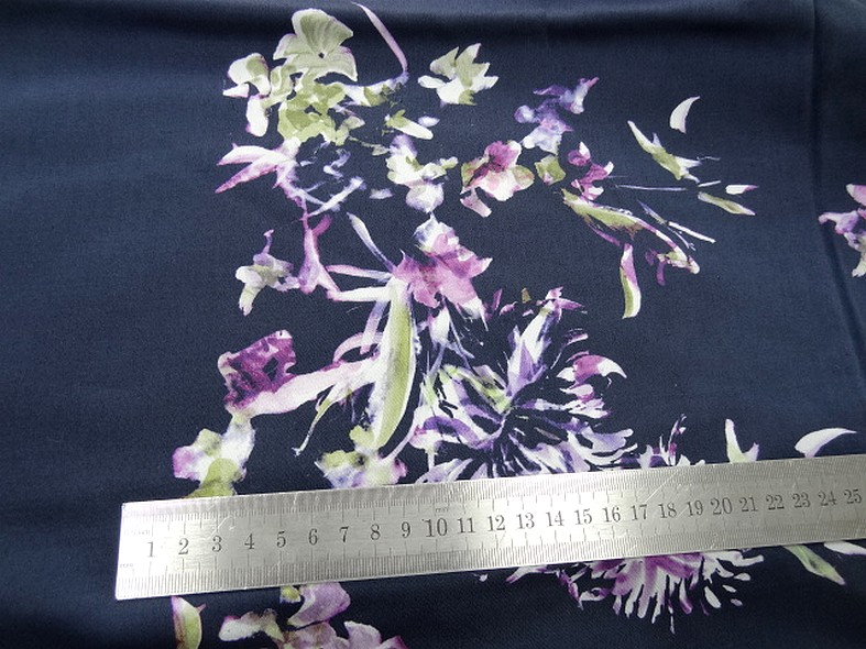 bengaline bleu nuit fleurs violet prune et tilleul 3