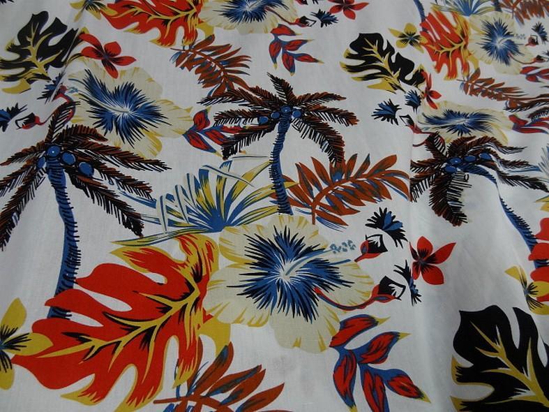 Popeline coton blanc palmiers et feuilles bleu et orange 1