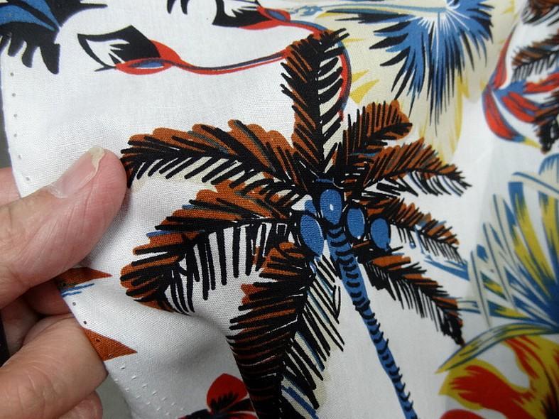 Popeline coton blanc palmiers et feuilles bleu et orange 2