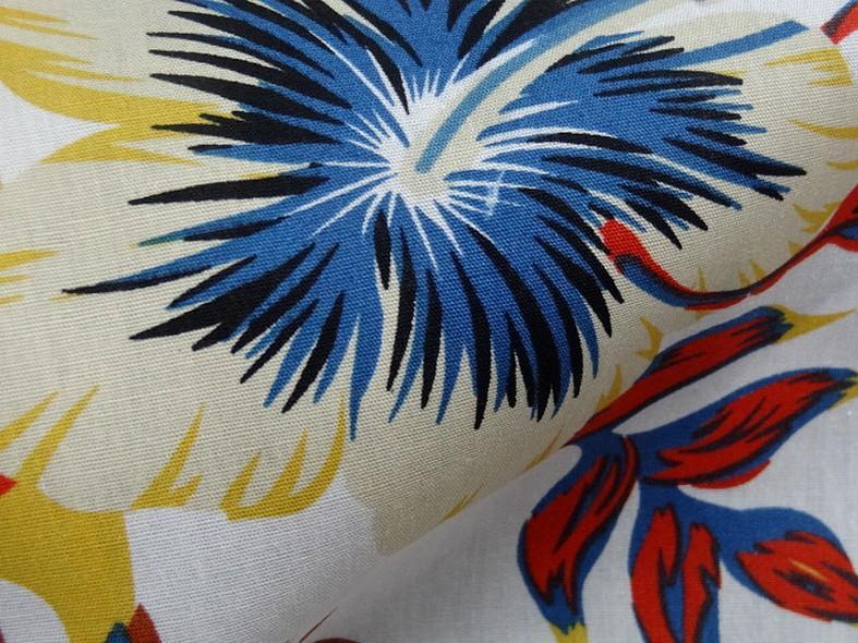Popeline coton blanc palmiers et feuilles bleu et orange 4