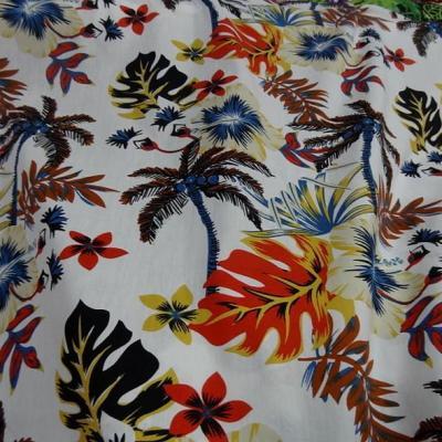 Popeline coton blanc palmiers et feuilles bleu et orange 5