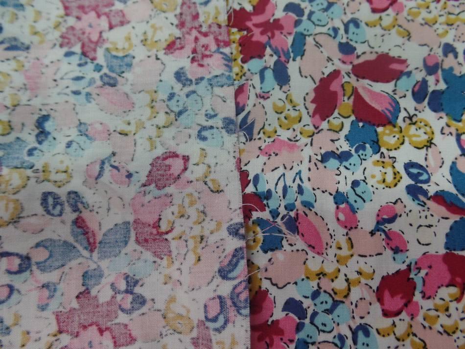 popeline coton blanche imprimé liberty fleurs bordeaux ,bleu ,jaune