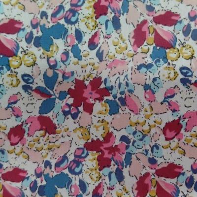 Popeline coton blanche imprime liberty fleurs bordeaux bleu jaune7