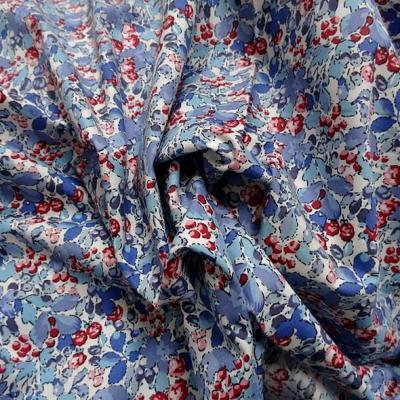 Popeline coton bleu ciel saphir rouge 2