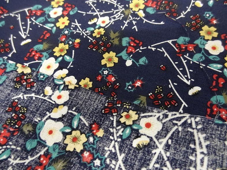 Popeline coton bleu marine fleurs et tiges rouge et jaune 6