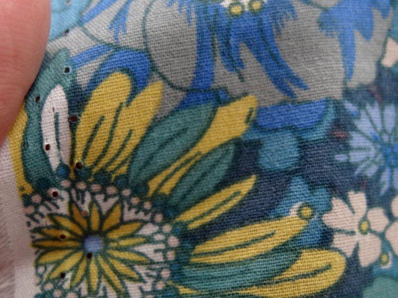 Popeline coton bleu vert floral 2