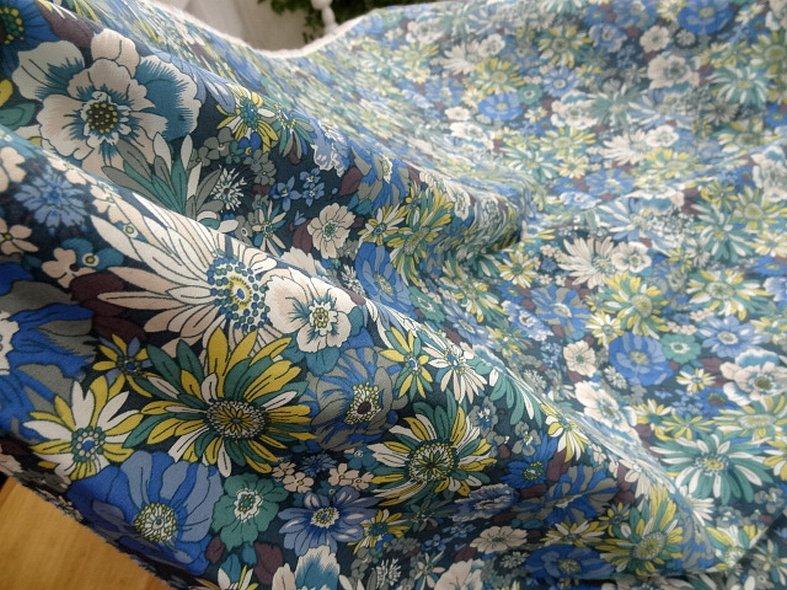 Popeline coton bleu vert floral 3