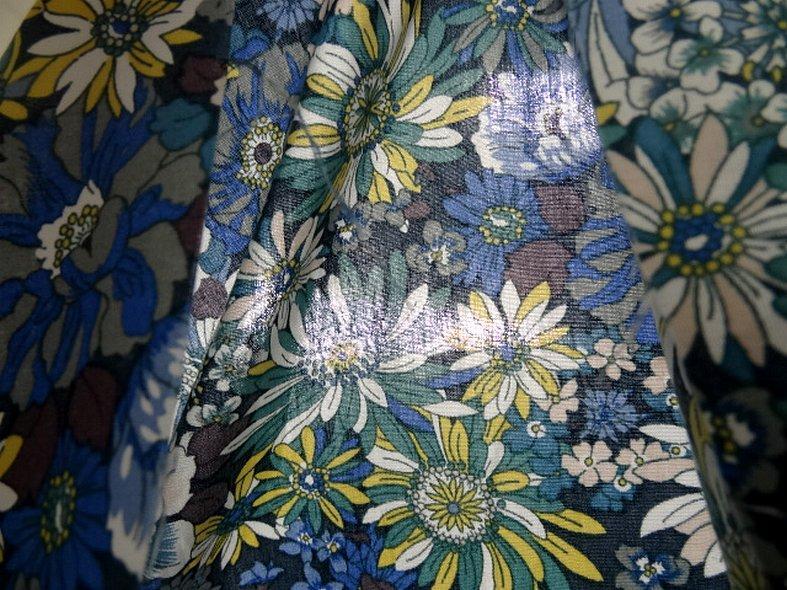 Popeline coton bleu vert floral 4