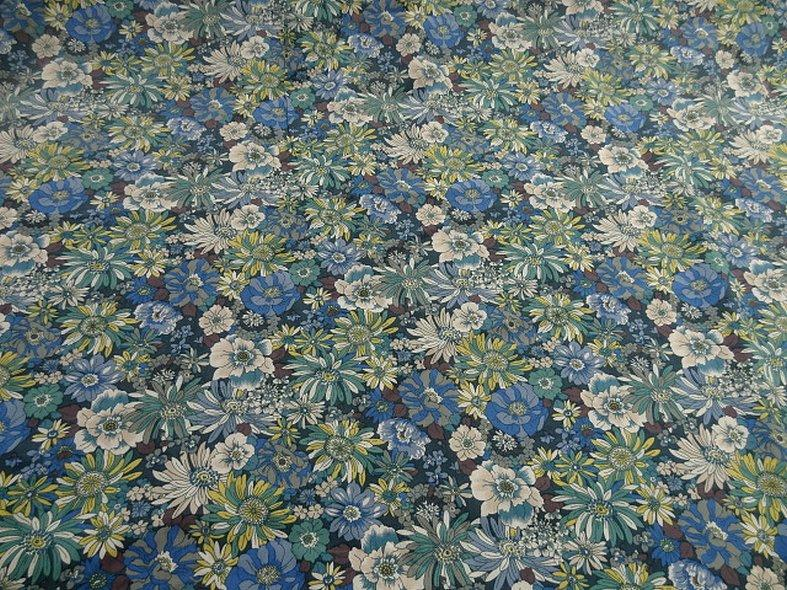 Popeline coton bleu vert floral 7