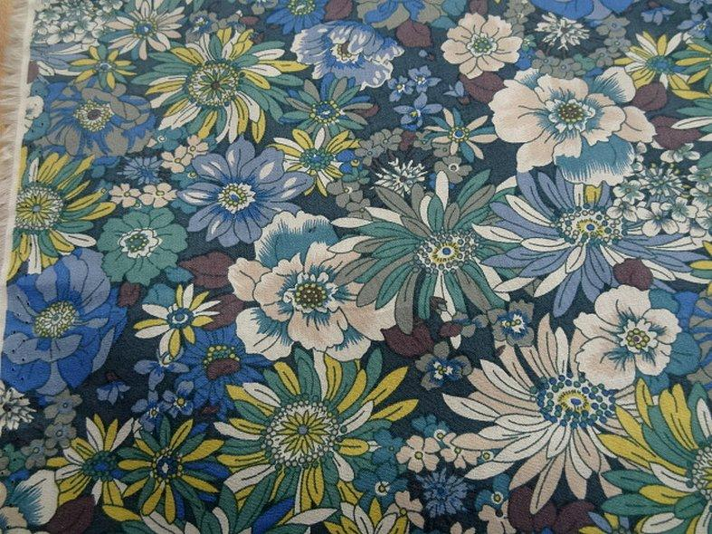 Popeline coton bleu vert floral 8