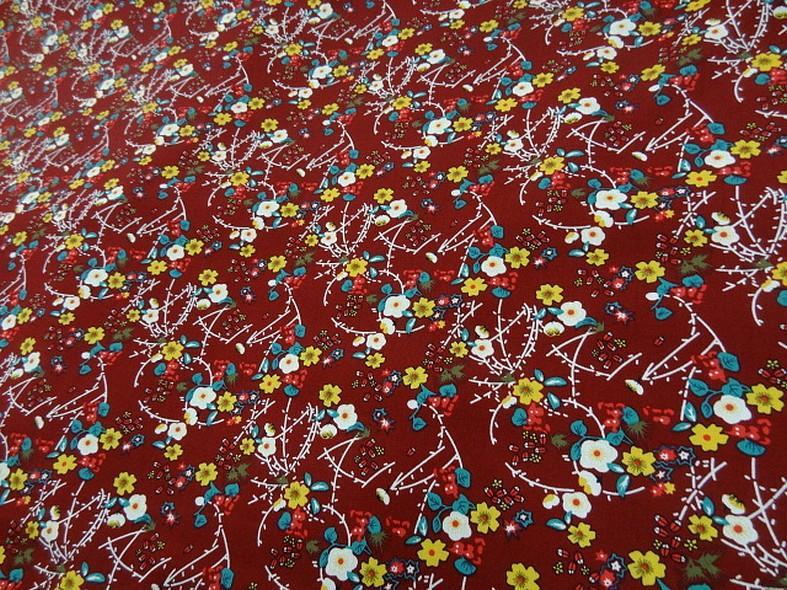Popeline coton bordeaux fleurs et tiges rouge et jaune 1