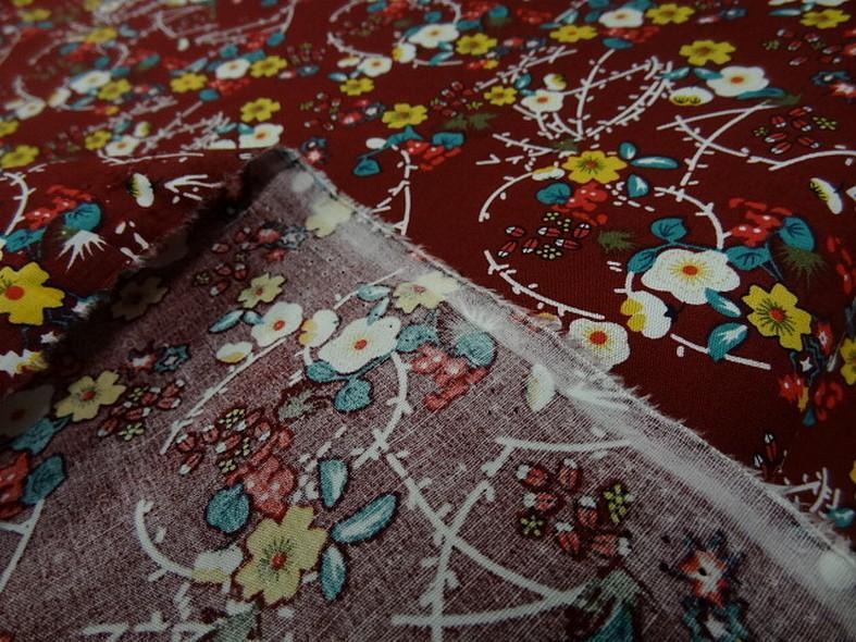 Popeline coton bordeaux fleurs et tiges rouge et jaune 4