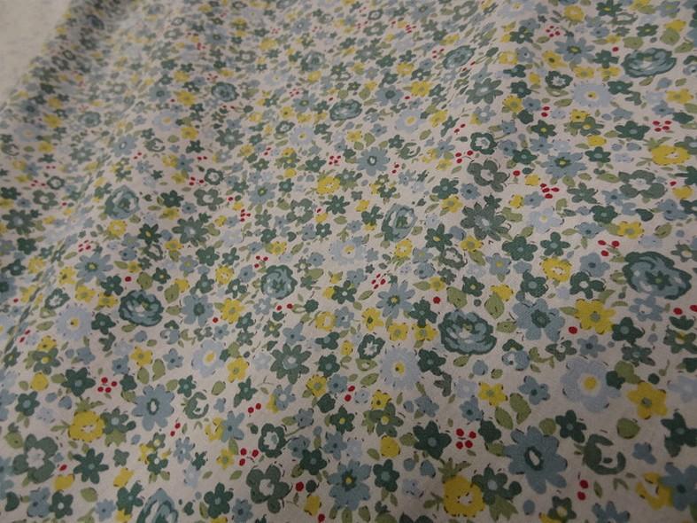 Popeline coton fleuri vert de gris et jaune 1