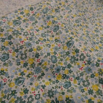 Popeline coton fleuri vert de gris et jaune 2
