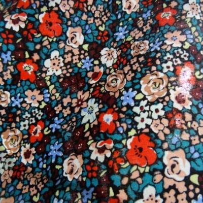 Popeline coton fleurie fond noir 3