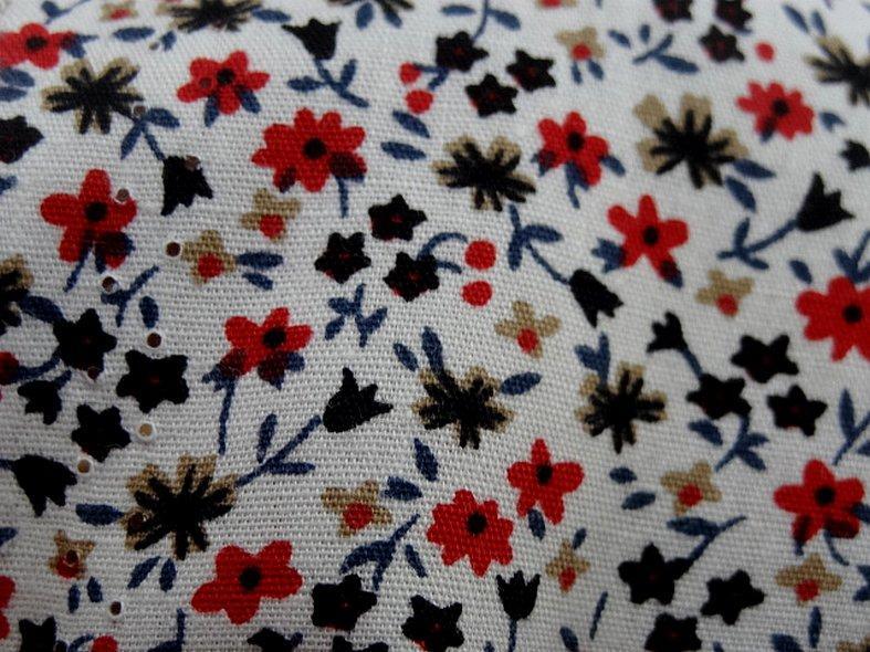Popeline coton fond blanc mini fleurs 1 1
