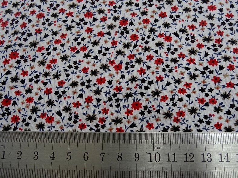 Popeline coton fond blanc mini fleurs 4
