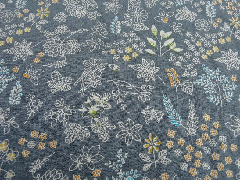 Popeline coton fond gris fleurs squelettes 2