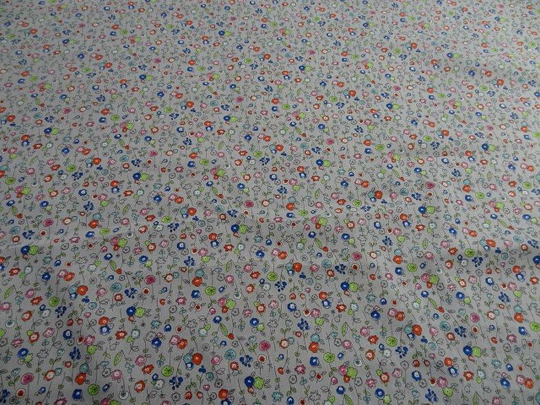 Popeline coton fond gris perle fleurs pretty 2